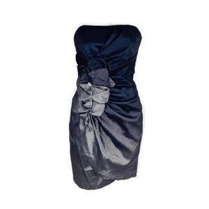 Cache blue black silver ombré strapless dress
